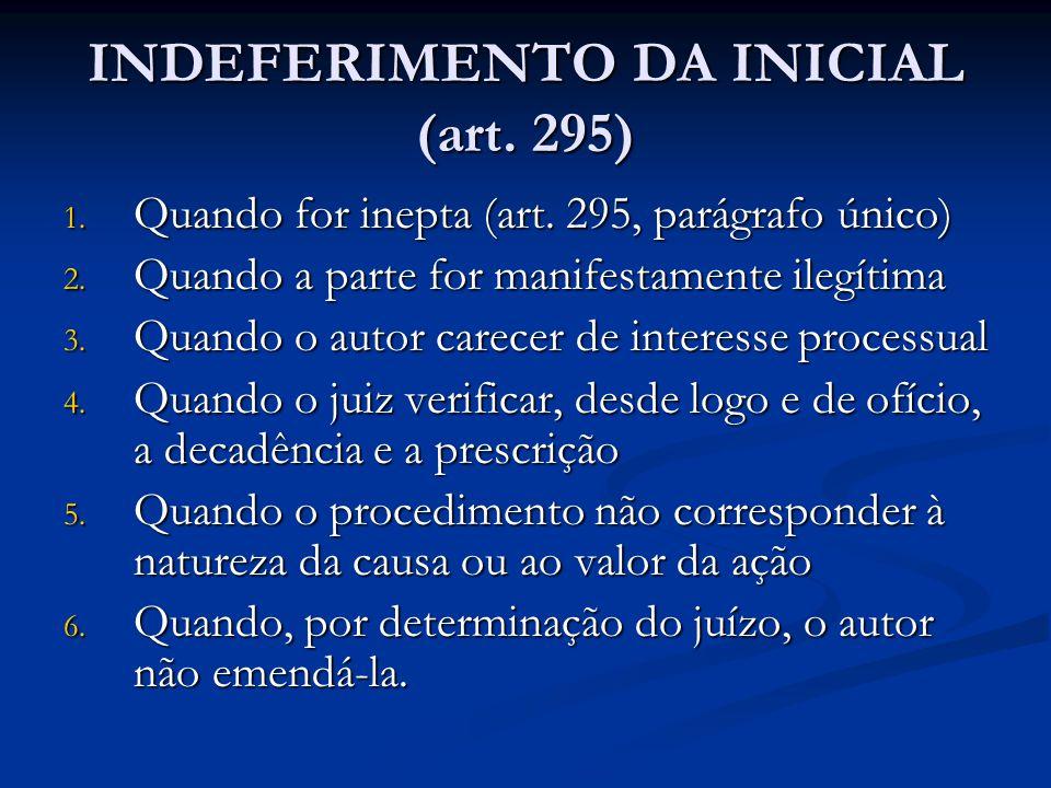 INDEFERIMENTO DA INICIAL (art. 295)