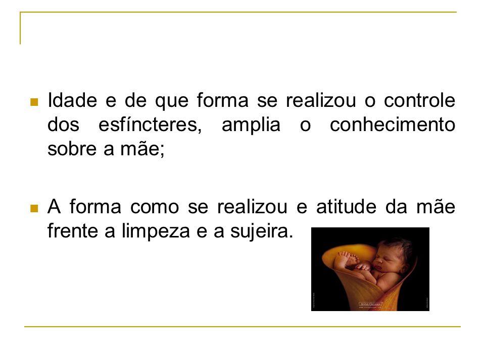 Idade e de que forma se realizou o controle dos esfíncteres, amplia o conhecimento sobre a mãe;
