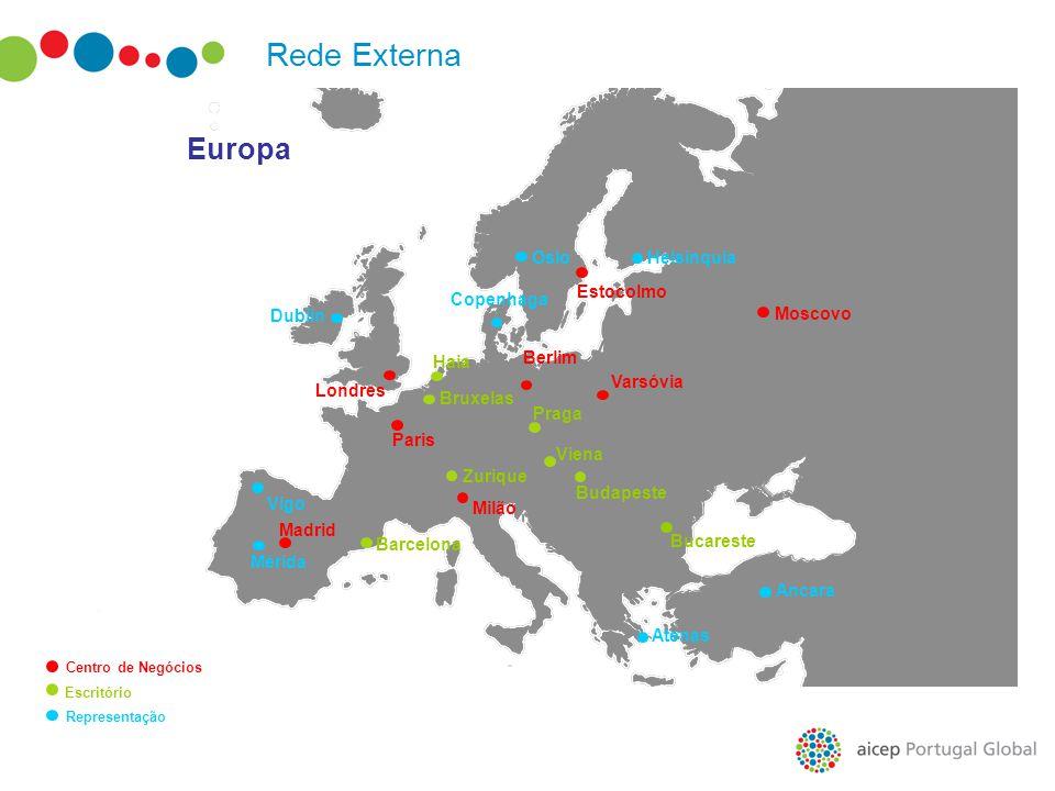 Rede Externa Europa Oslo Helsínquia Estocolmo Copenhaga Dublin Moscovo