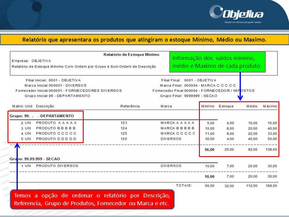 Relatório que apresentara os produtos que atingiram o estoque Mínimo, Médio ou Maximo.