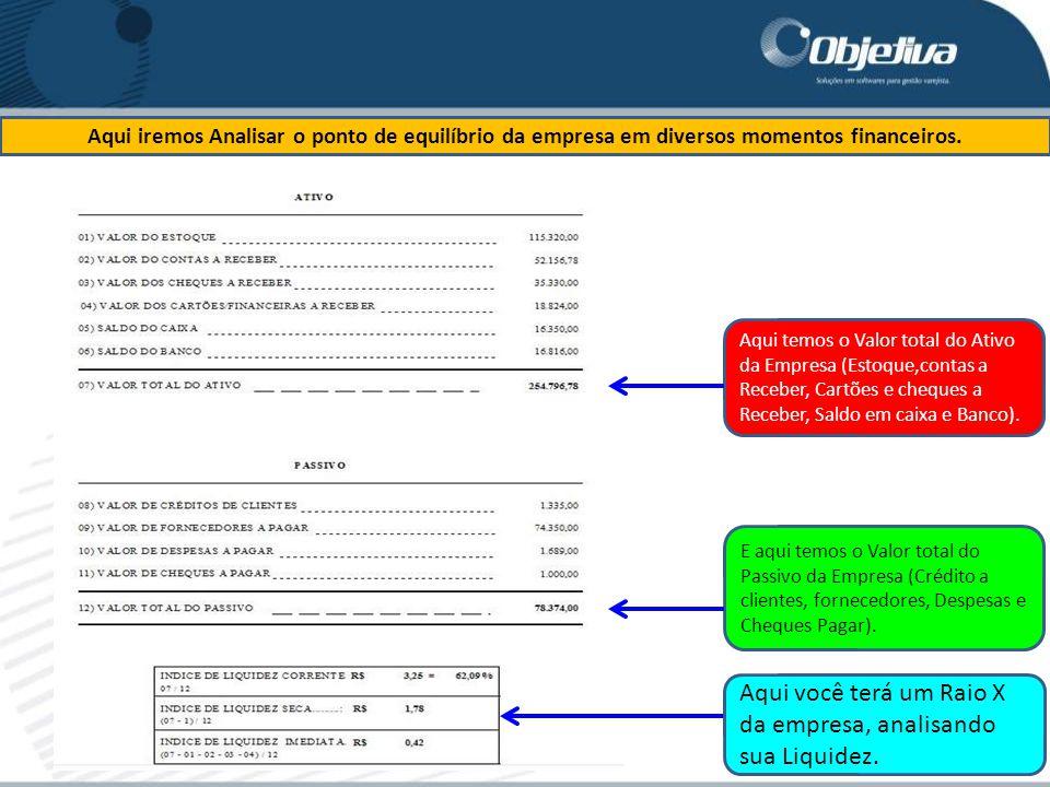 Aqui você terá um Raio X da empresa, analisando sua Liquidez.