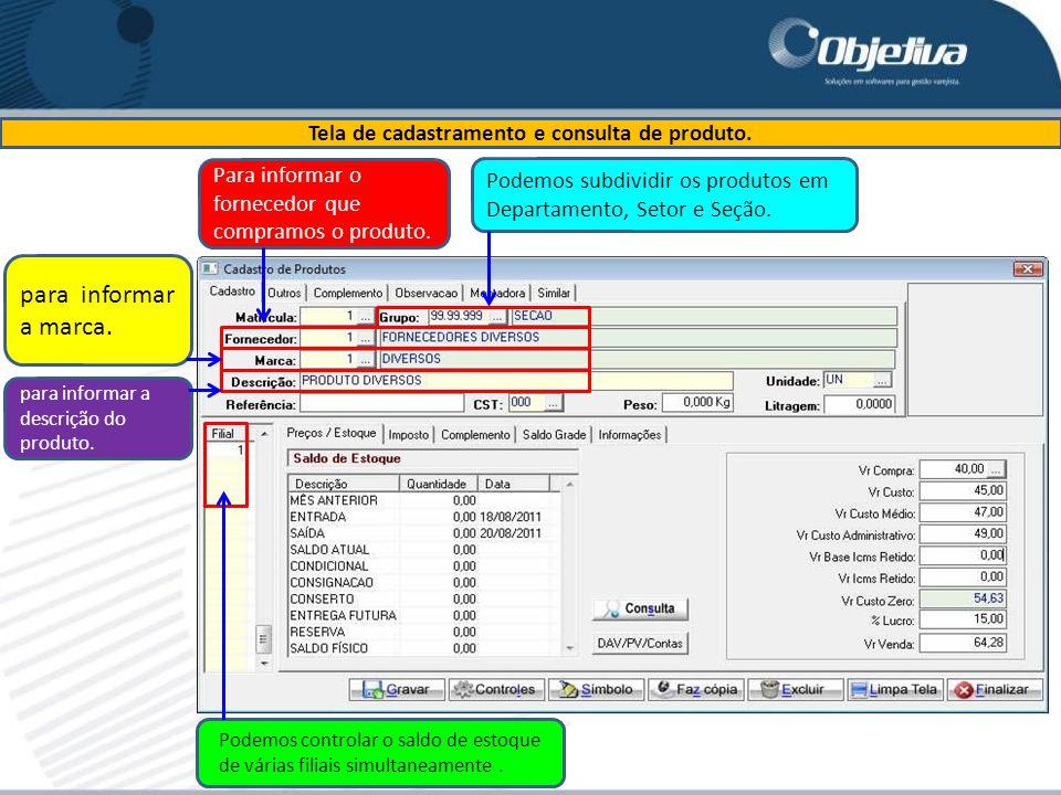 Tela de cadastramento e consulta de produto.