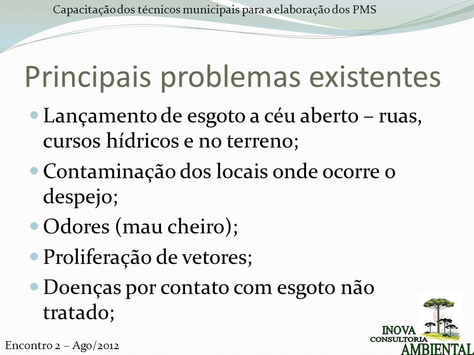 Principais problemas existentes