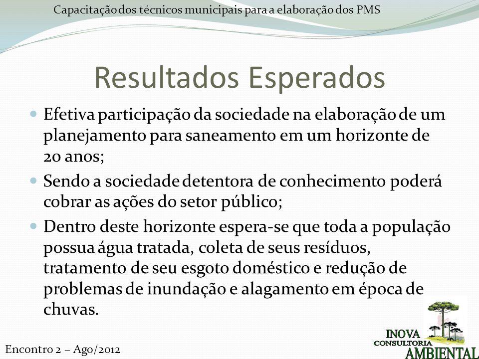 Resultados Esperados Efetiva participação da sociedade na elaboração de um planejamento para saneamento em um horizonte de 20 anos;