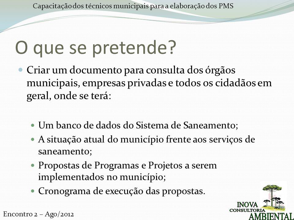 O que se pretende Criar um documento para consulta dos órgãos municipais, empresas privadas e todos os cidadãos em geral, onde se terá:
