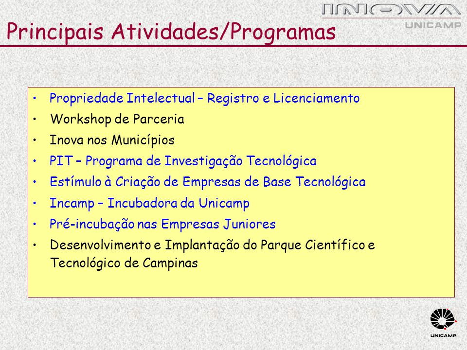 Principais Atividades/Programas