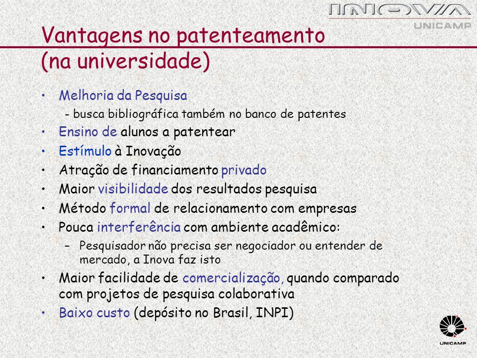 Vantagens no patenteamento (na universidade)