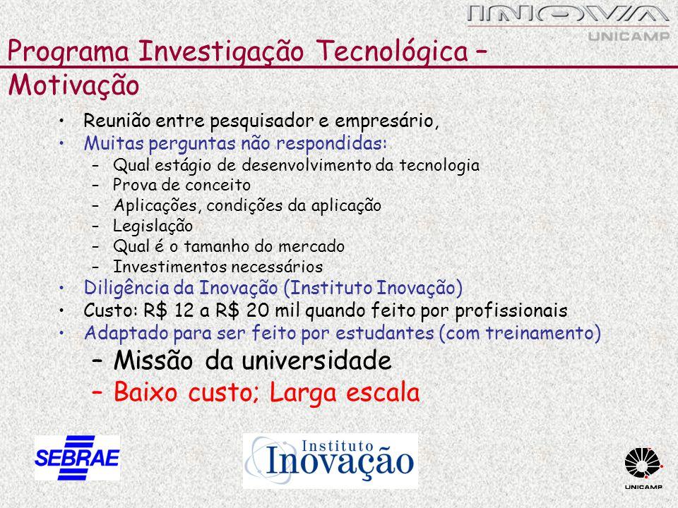 Programa Investigação Tecnológica – Motivação