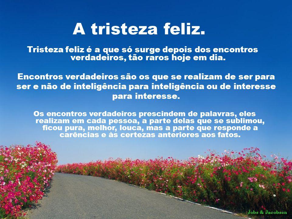 A tristeza feliz. Tristeza feliz é a que só surge depois dos encontros verdadeiros, tão raros hoje em dia.