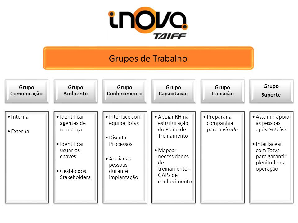 Grupos de Trabalho Grupo Comunicação Grupo Ambiente Grupo Conhecimento