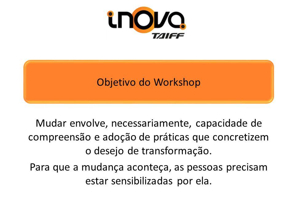 Objetivo do Workshop Mudar envolve, necessariamente, capacidade de compreensão e adoção de práticas que concretizem o desejo de transformação.