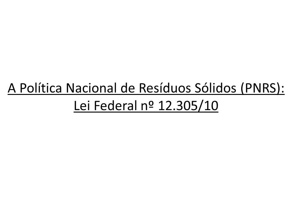 A Política Nacional de Resíduos Sólidos (PNRS): Lei Federal nº 12