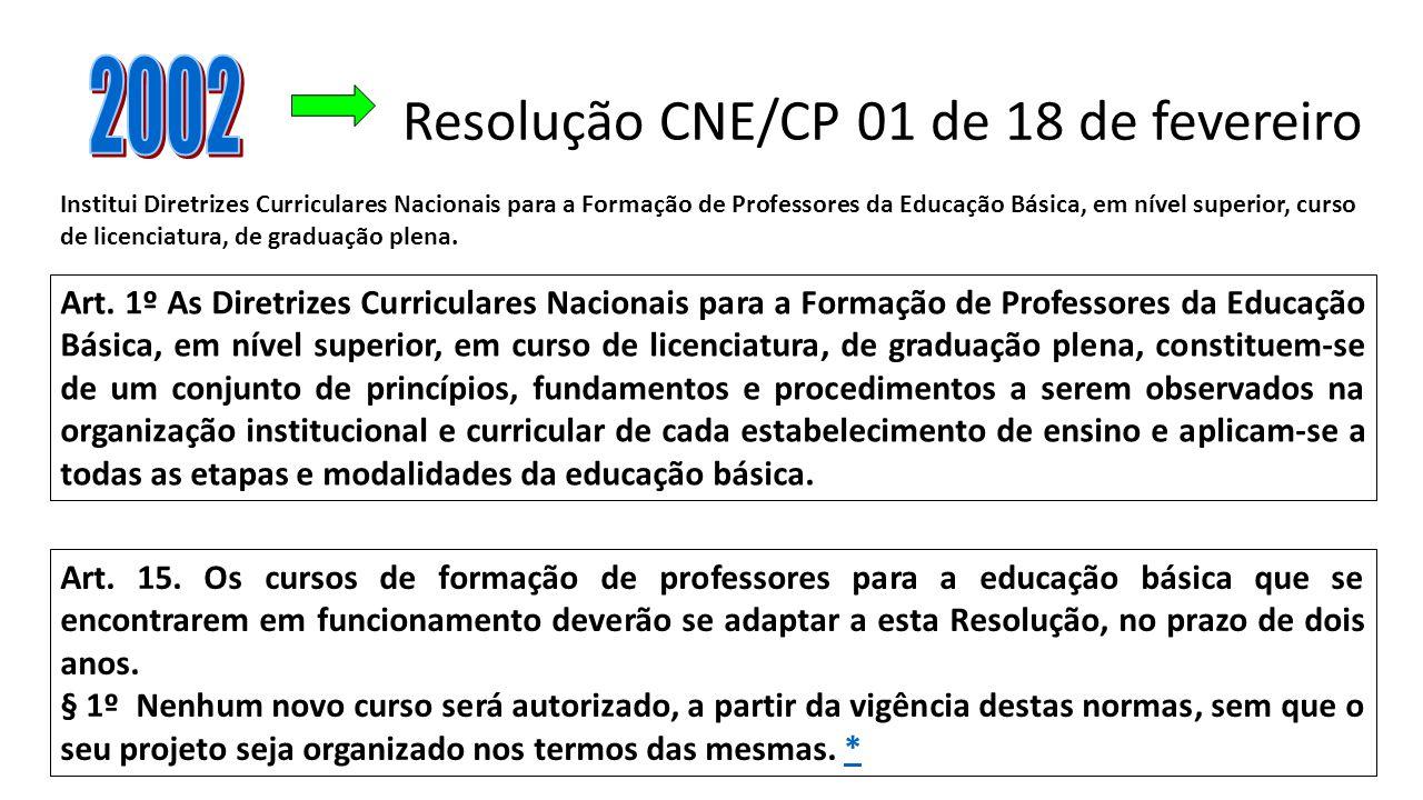 Resolução CNE/CP 01 de 18 de fevereiro