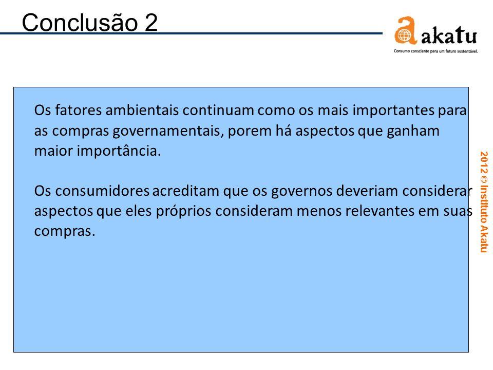 Conclusão 2 Os fatores ambientais continuam como os mais importantes para as compras governamentais, porem há aspectos que ganham maior importância.