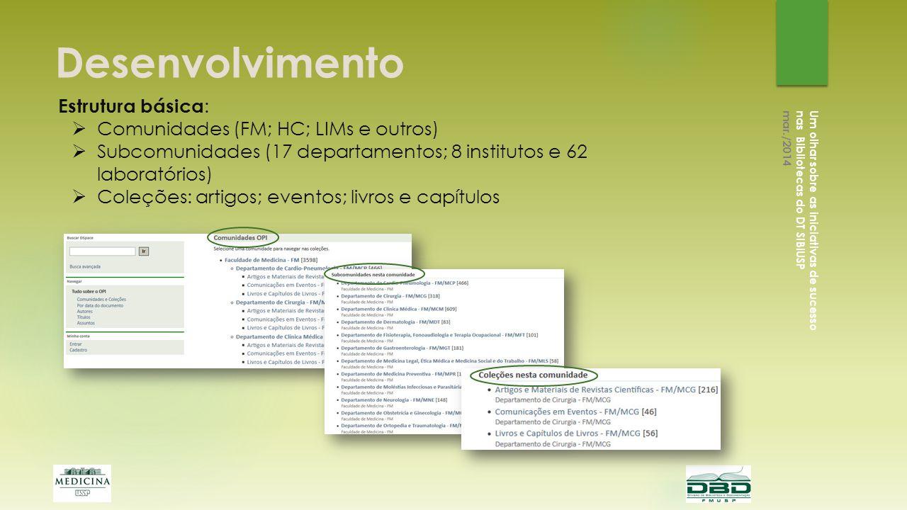 Desenvolvimento Estrutura básica: Comunidades (FM; HC; LIMs e outros)