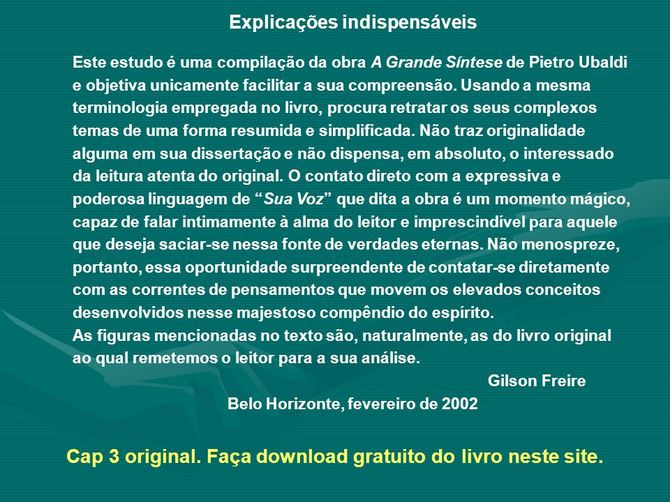 Cap 3 original. Faça download gratuito do livro neste site.