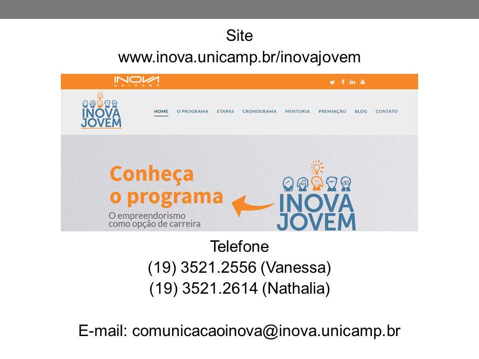 Site www. inova. unicamp. br/inovajovem Telefone (19) 3521