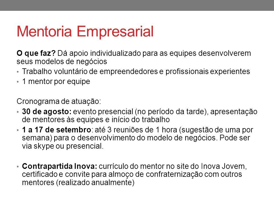 Mentoria Empresarial O que faz Dá apoio individualizado para as equipes desenvolverem seus modelos de negócios.