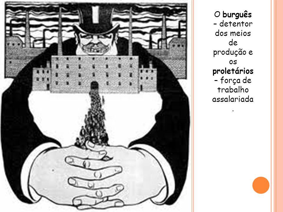 O burguês – detentor dos meios de produção e os proletários – força de trabalho assalariada .