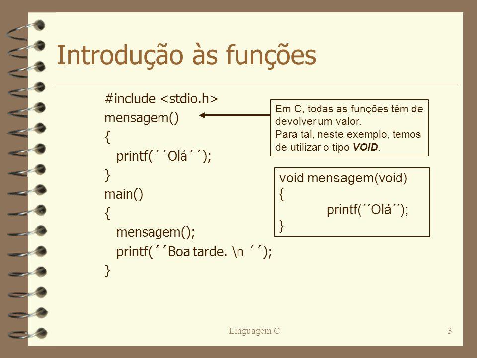 Introdução às funções #include <stdio.h> mensagem() {