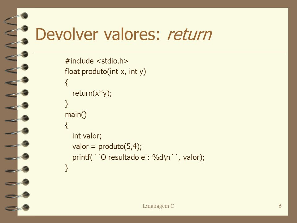 Devolver valores: return