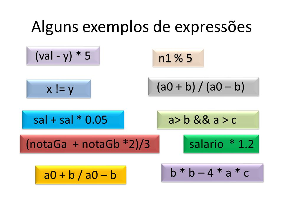 Alguns exemplos de expressões
