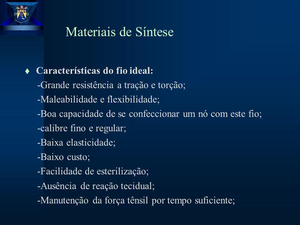 Materiais de Síntese Características do fio ideal: