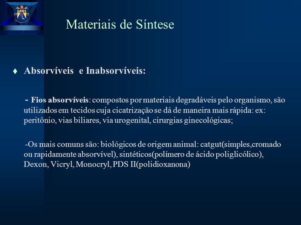 Materiais de Síntese Absorvíveis e Inabsorvíveis: