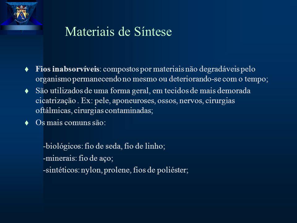 Materiais de Síntese Fios inabsorvíveis: compostos por materiais não degradáveis pelo organismo permanecendo no mesmo ou deteriorando-se com o tempo;
