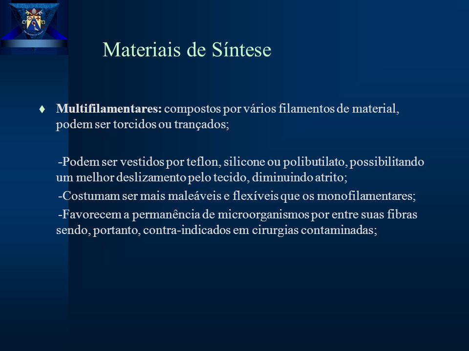 Materiais de Síntese Multifilamentares: compostos por vários filamentos de material, podem ser torcidos ou trançados;