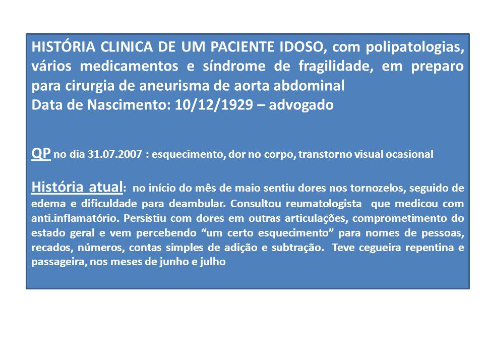 HISTÓRIA CLINICA DE UM PACIENTE IDOSO, com polipatologias, vários medicamentos e síndrome de fragilidade, em preparo para cirurgia de aneurisma de aorta abdominal