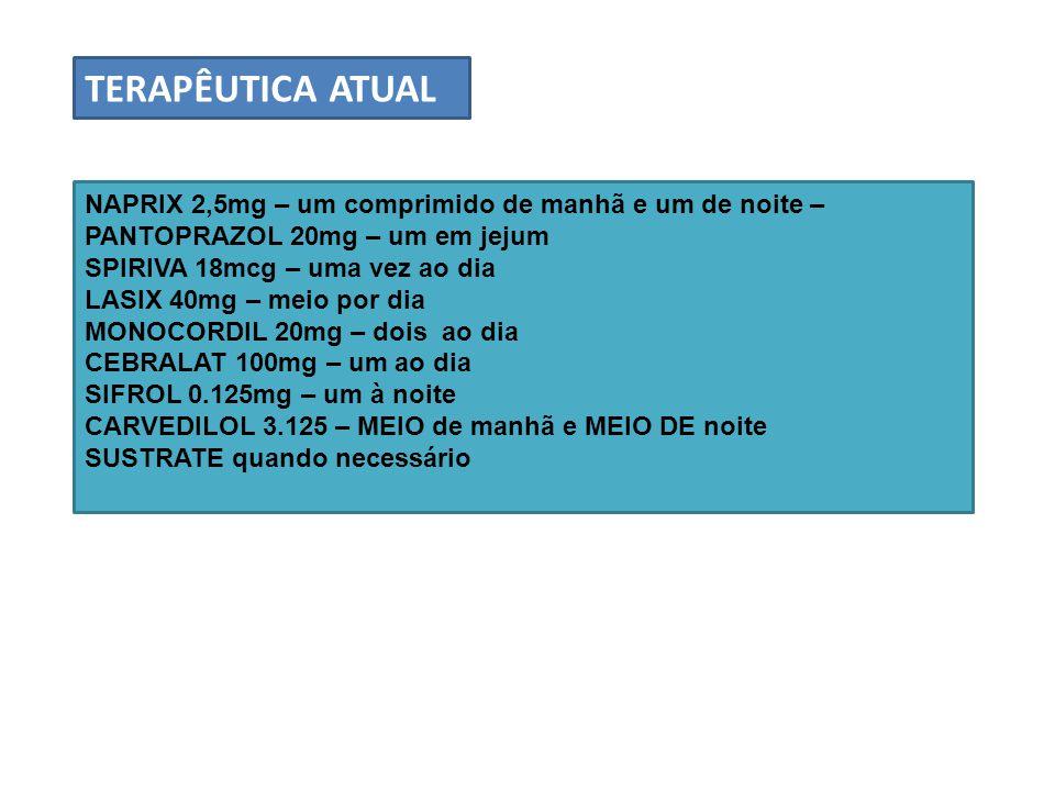 TERAPÊUTICA ATUAL NAPRIX 2,5mg – um comprimido de manhã e um de noite – PANTOPRAZOL 20mg – um em jejum.