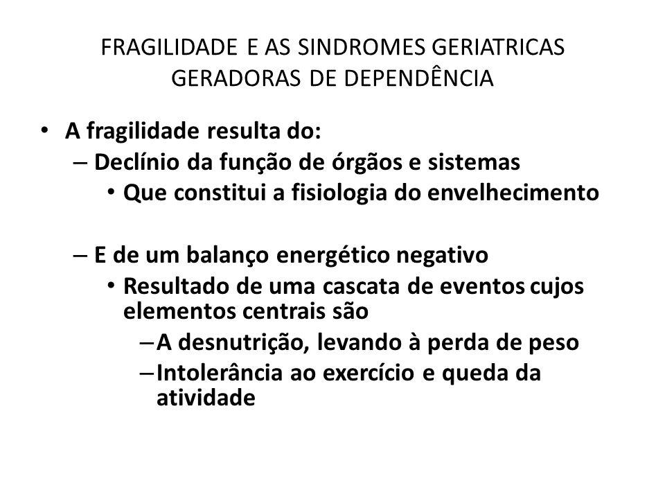FRAGILIDADE E AS SINDROMES GERIATRICAS GERADORAS DE DEPENDÊNCIA