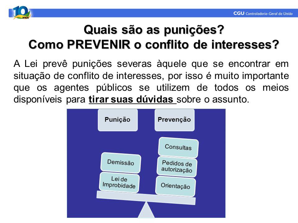 Quais são as punições Como PREVENIR o conflito de interesses