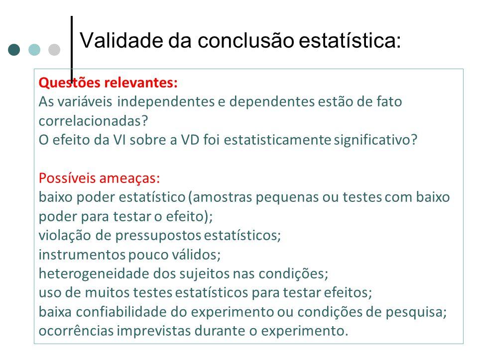 Validade da conclusão estatística:
