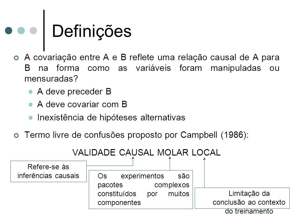 Definições A covariação entre A e B reflete uma relação causal de A para B na forma como as variáveis foram manipuladas ou mensuradas