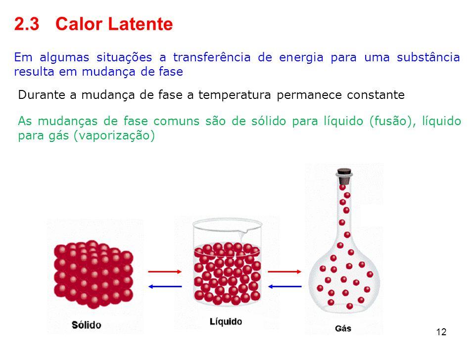 2.3 Calor Latente Em algumas situações a transferência de energia para uma substância resulta em mudança de fase.