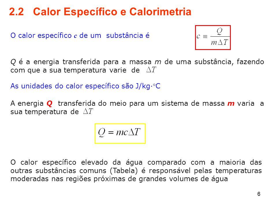 2.2 Calor Específico e Calorimetria