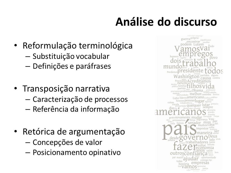 Análise do discurso Reformulação terminológica Transposição narrativa
