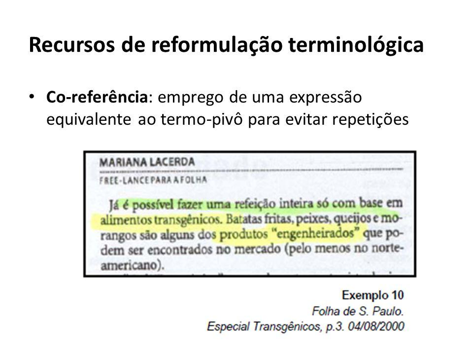 Recursos de reformulação terminológica