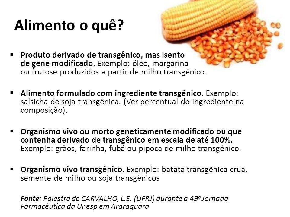 Alimento o quê Produto derivado de transgênico, mas isento