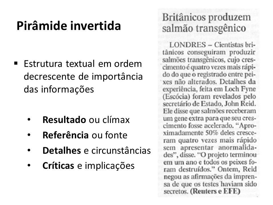 Pirâmide invertida Estrutura textual em ordem decrescente de importância das informações. Resultado ou clímax.