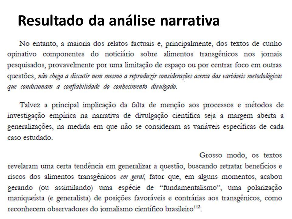 Resultado da análise narrativa