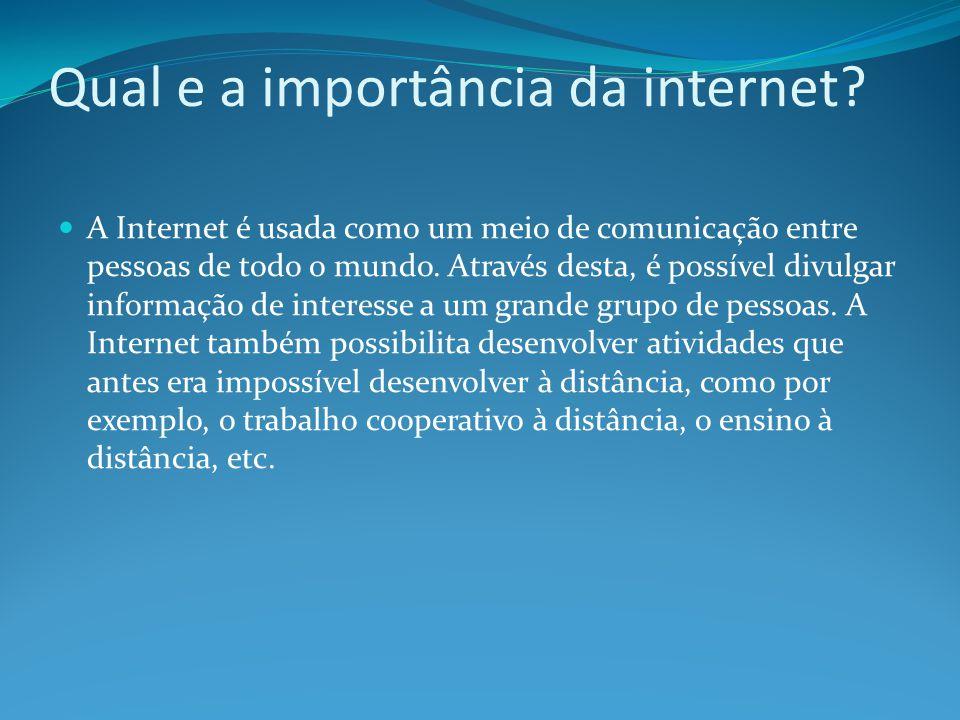 Qual e a importância da internet
