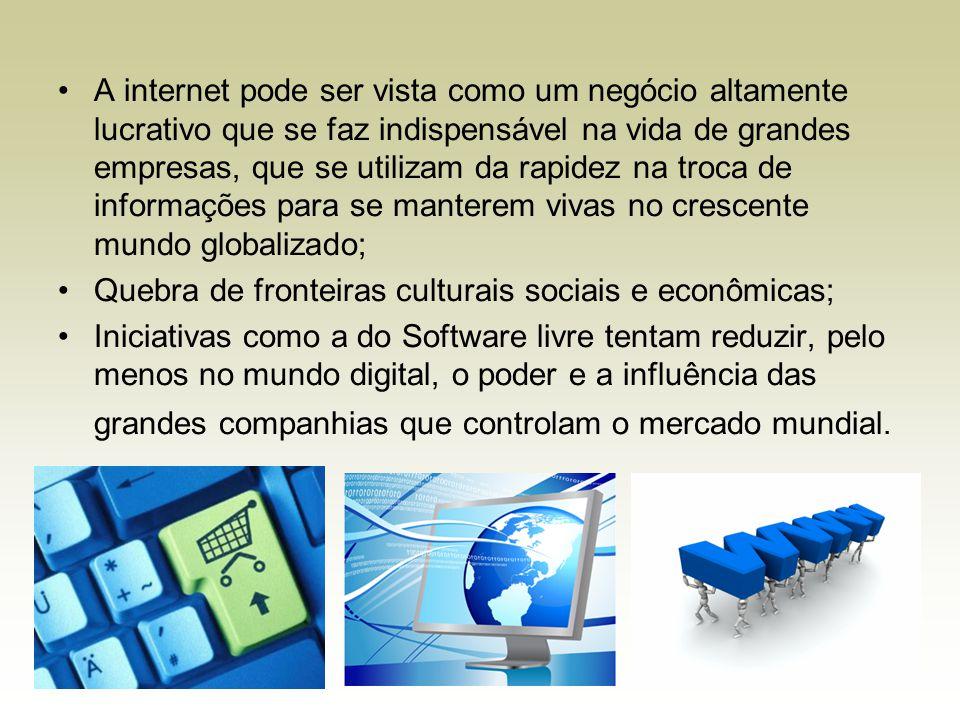 A internet pode ser vista como um negócio altamente lucrativo que se faz indispensável na vida de grandes empresas, que se utilizam da rapidez na troca de informações para se manterem vivas no crescente mundo globalizado;