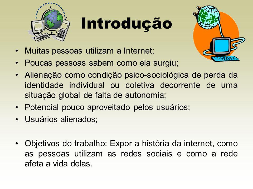Introdução Muitas pessoas utilizam a Internet;
