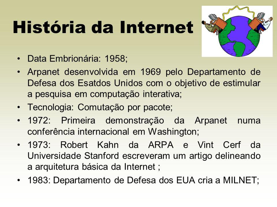 História da Internet Data Embrionária: 1958;