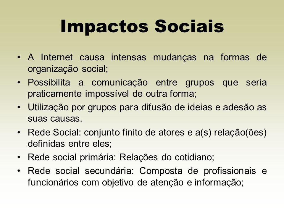 Impactos Sociais A Internet causa intensas mudanças na formas de organização social;