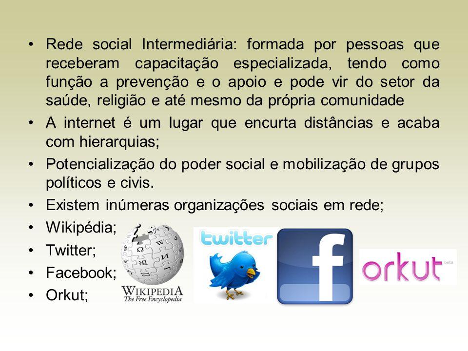Rede social Intermediária: formada por pessoas que receberam capacitação especializada, tendo como função a prevenção e o apoio e pode vir do setor da saúde, religião e até mesmo da própria comunidade