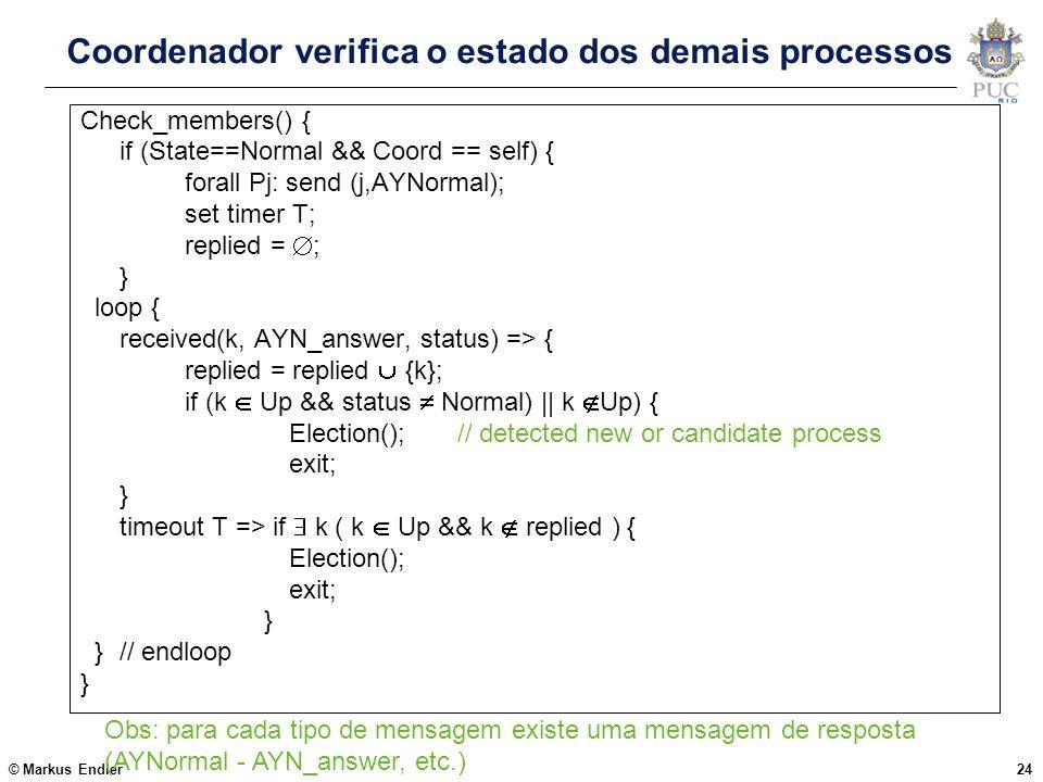 Coordenador verifica o estado dos demais processos